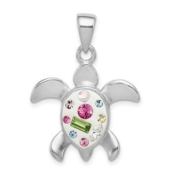 Sterling Silver Rhodium Plated Stellux Crystal Turtle Pendant