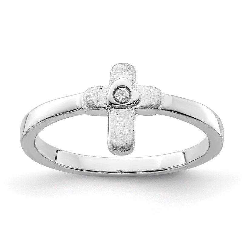 Quality Gold Sterling Silver Rhodium-plated Polished CZ Cross Ring