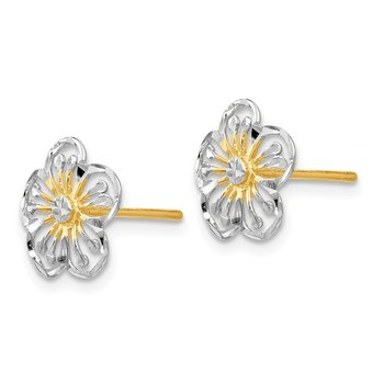 Leslie's 14K w/White Rhodium Polished and D/C Post Earrings