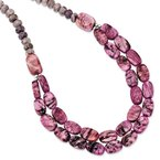 Quality Gold Sterling Silver Charoite, Jade, Pink and Purple Jasper w/2in ext Necklace