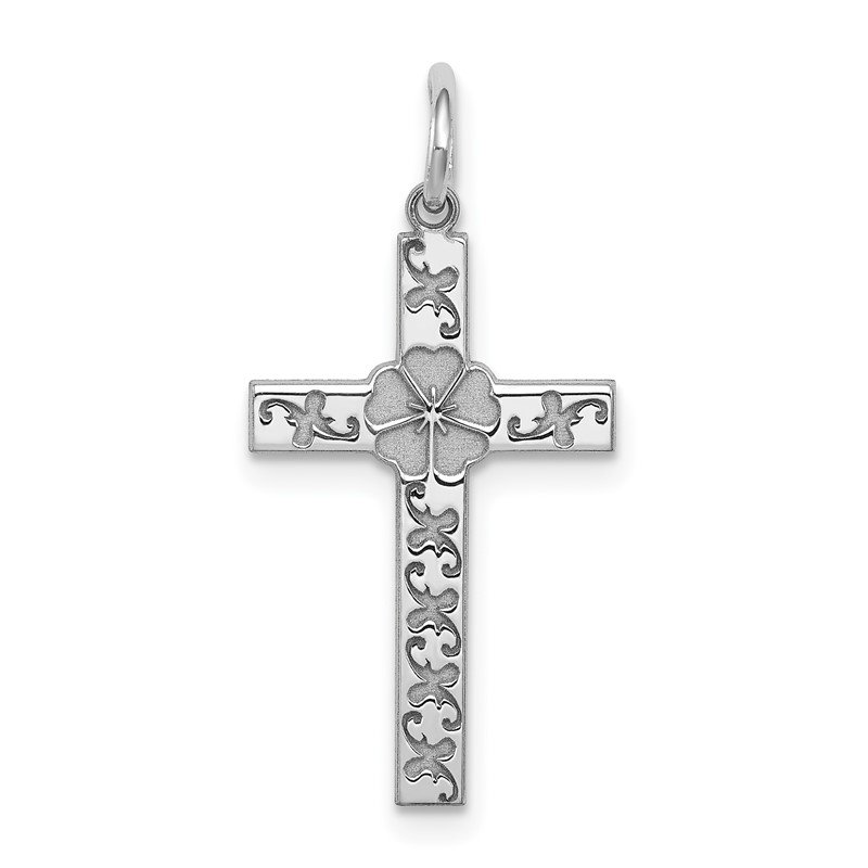 J.F. Kruse Signature Collection Sterling Silver Rhodium-plated Laser Designed Cross Pendant