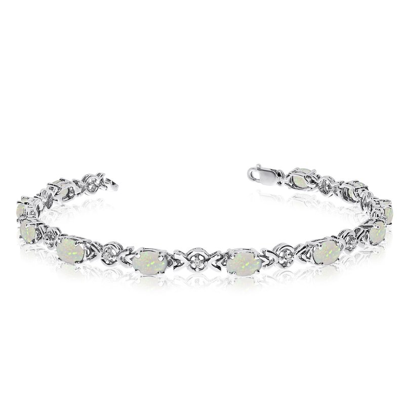 Color Merchants 10K White Gold Oval Opal and Diamond Bracelet