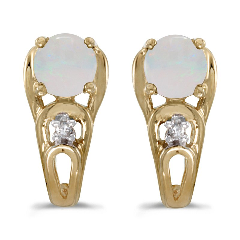 Color Merchants 14k Yellow Gold Round Opal And Diamond Earrings