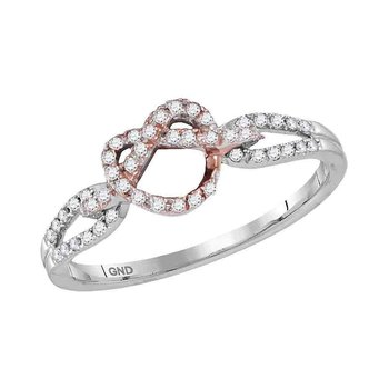 10kt Two-tone White Gold Womens Round Diamond Infinity Knot Heart Ring 1/6 Cttw