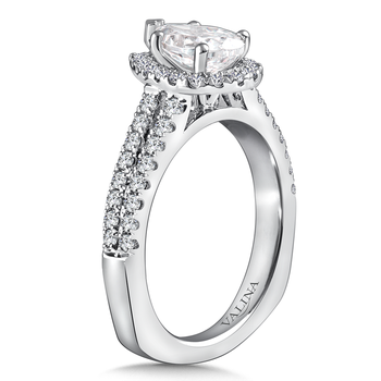 Diamond Engagement Ring Mounting in 14K White Gold  (0.506 ct. tw)