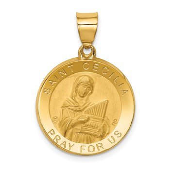 14K Polished/Satin St. Cecilia Hollow Medal Pendant