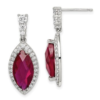 Sterling Silver Red/Clear CZ Earrings