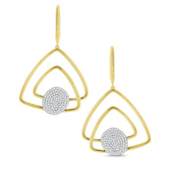 14k Gold and Diamond Geometric Earrings