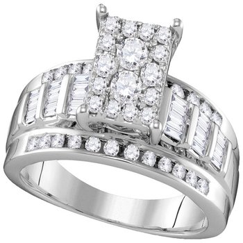 10kt White Gold Womens Round Diamond Rectangle Cluster Bridal Wedding Engagement Ring 7/8 Cttw - Size 5