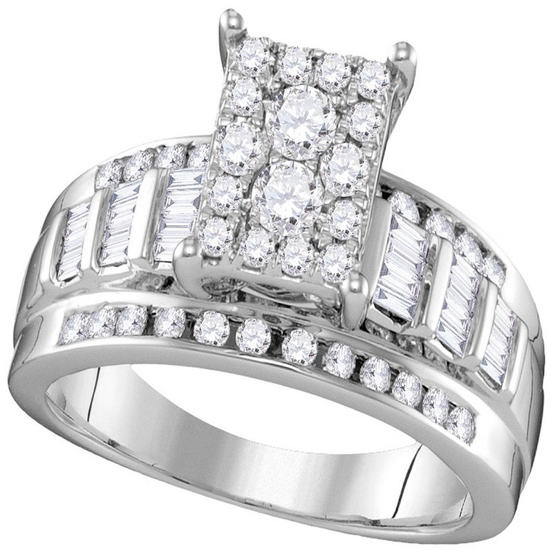 Kingdom Treasures 10kt White Gold Womens Round Diamond Rectangle Cluster Bridal Wedding Engagement Ring 7/8 Cttw - Size 5