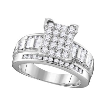 10kt White Gold Womens Round Diamond Cinderella Cluster Bridal Wedding Engagement Ring 1.00 Cttw