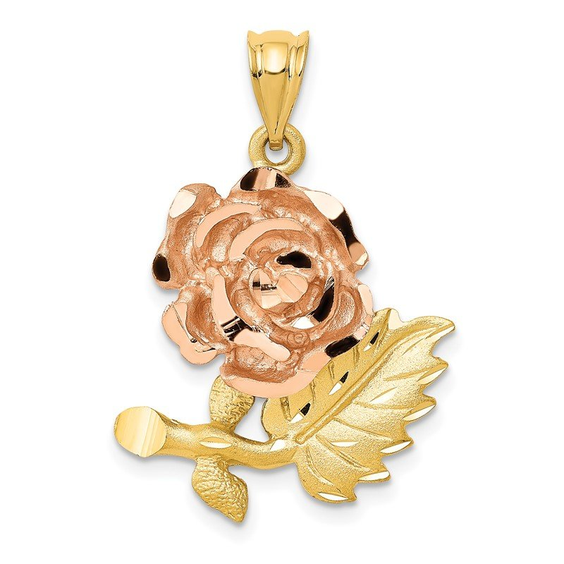 Quality Gold 14k Two-Tone Solid Satin Diamond-cut Flower Pendant