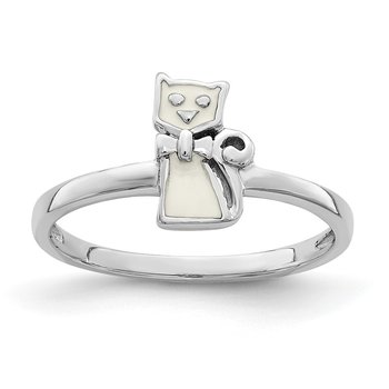 Sterling Silver Rhodium-plated Childs Enameled White Cat Ring