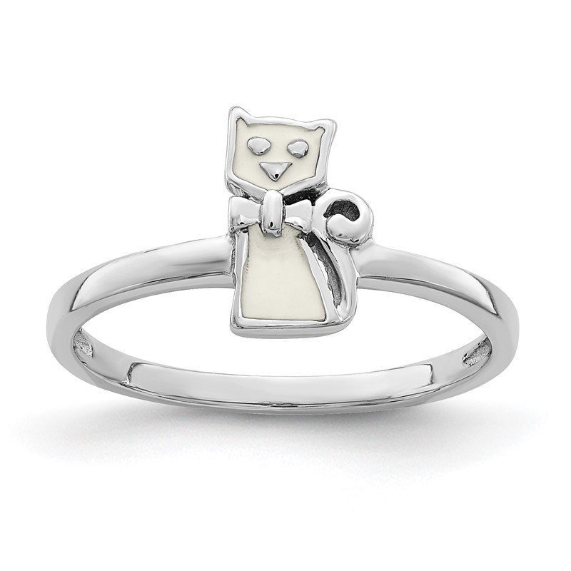 Quality Gold Sterling Silver Rhodium-plated Childs Enameled White Cat Ring
