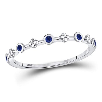 10kt White Gold Womens Round Blue Sapphire Dot Flower Stackable Band Ring 1/12 Cttw