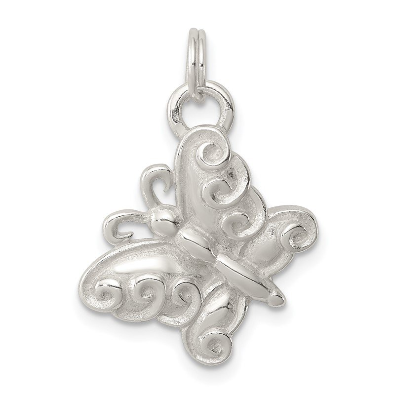 Quality Gold Sterling Silver Polished Butterfly Charm