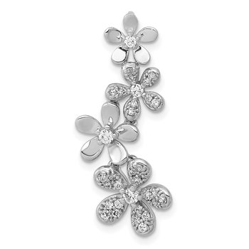 14k Rose and White Gold Diamond Four Flower Chain Slide