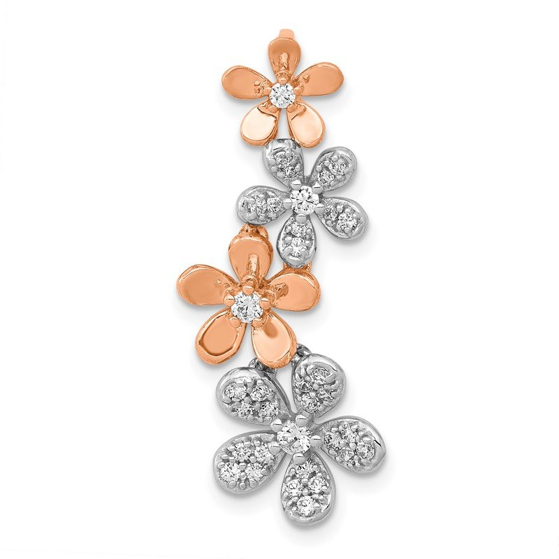 Quality Gold 14k Rose and White Gold Diamond Four Flower Chain Slide