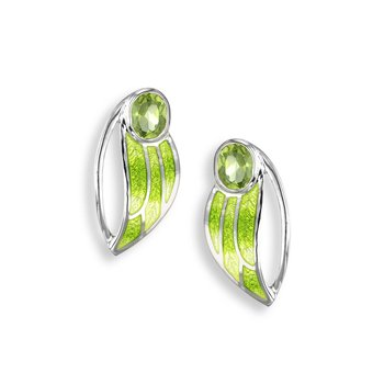 Green Contoured Leaf Stud Earrings.Sterling Silver-Peridot