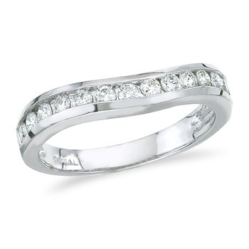 14K White Gold .50 ct Diamond Wave Band Ring