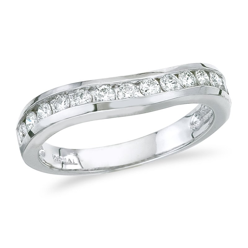 Color Merchants 14K White Gold .50 ct Diamond Wave Band Ring