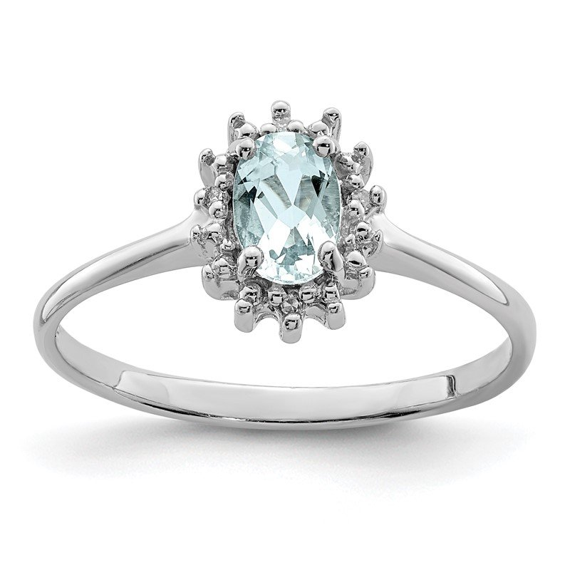 Quality Gold Sterling Silver Rhodium Aquamarine Diamond Ring