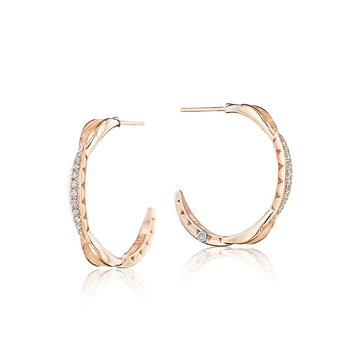 Petite Crescent Curve Hoop Earrings featuring Diamonds