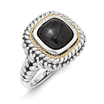 Sterling Silver w/14k Cabochon Onyx Ring