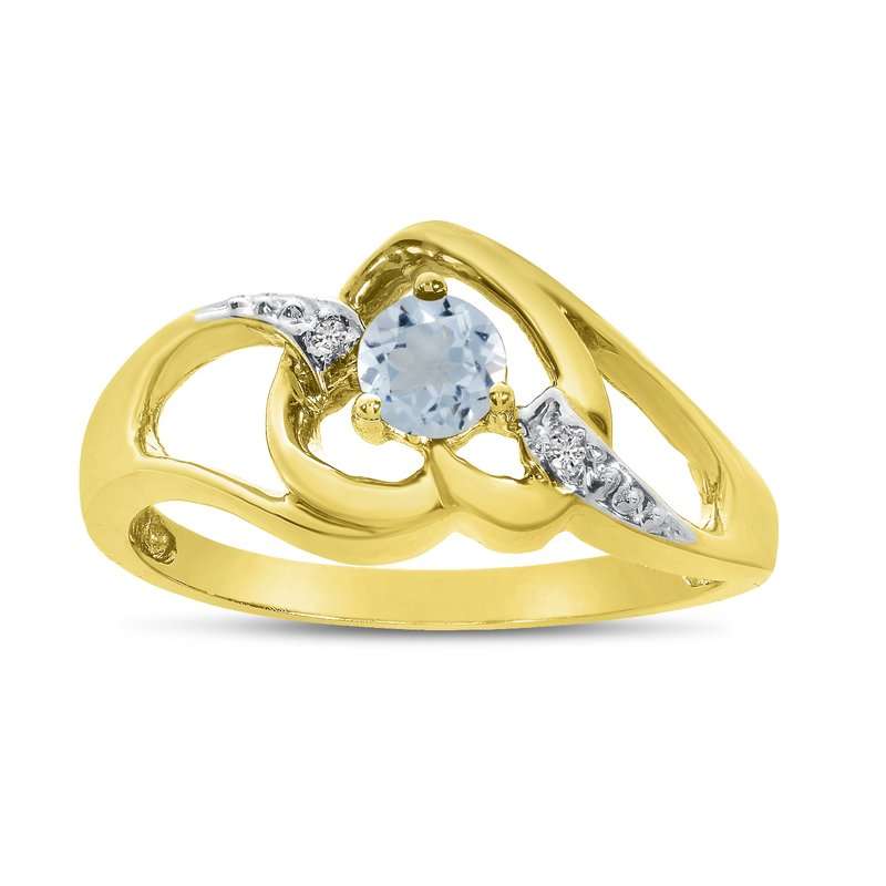 Color Merchants 10k Yellow Gold Round Aquamarine And Diamond Heart Ring