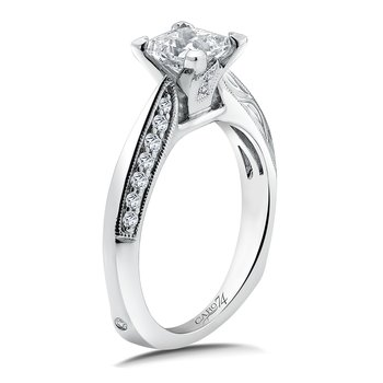 Diamond Engagement Ring Mounting in 14K White Gold with Platinum Head (.19 ct. tw.)