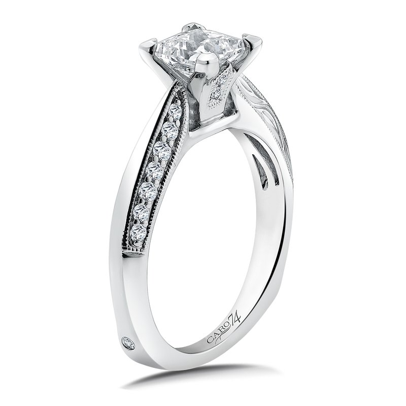 Caro74 Diamond Engagement Ring Mounting in 14K White Gold with Platinum Head (.19 ct. tw.)