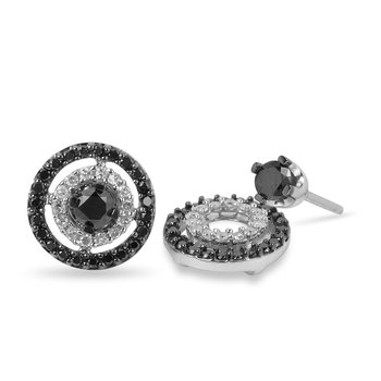 10K WG Black Diamond Solitaire Earring and Jacket