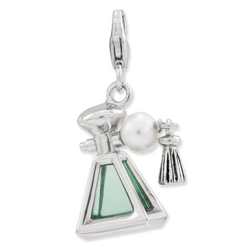 Sterling Silver 3-D Perfume FW Cultured Pearl Bottle w/Lobster Clasp Charm