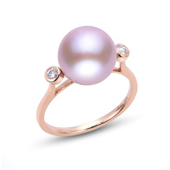 14K Gold Rose Freshwater Pearl Ring