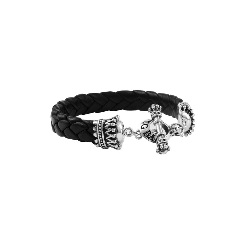 King Baby Small Black Leather Braid W/ Crowns