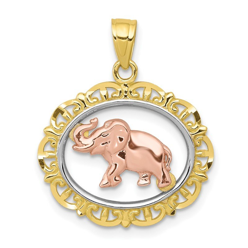 Quality Gold 10k Two-tone Elephant Charm