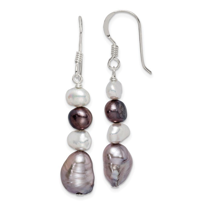 Lester Martin Online Collection Sterling Silver White and Grey FW Cultured Pearl Earrings