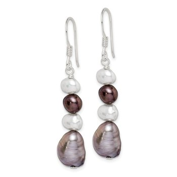 Sterling Silver White and Grey FW Cultured Pearl Earrings