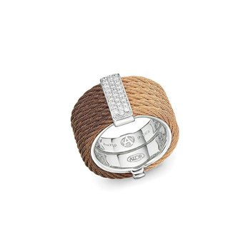 Bronze & Rose Cable Colorblock Ring with 18kt White Gold & Diamonds