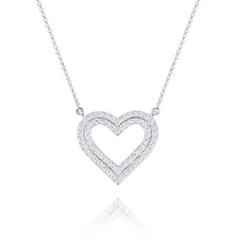 Diamond Double Row Heart Pendant Set in 14 Kt. Gold