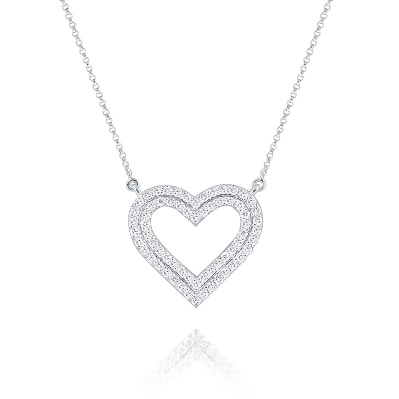 KC Designs Diamond Double Row Heart Pendant Set in 14 Kt. Gold