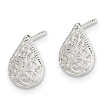 Sterling Silver Filigree Post Earrings