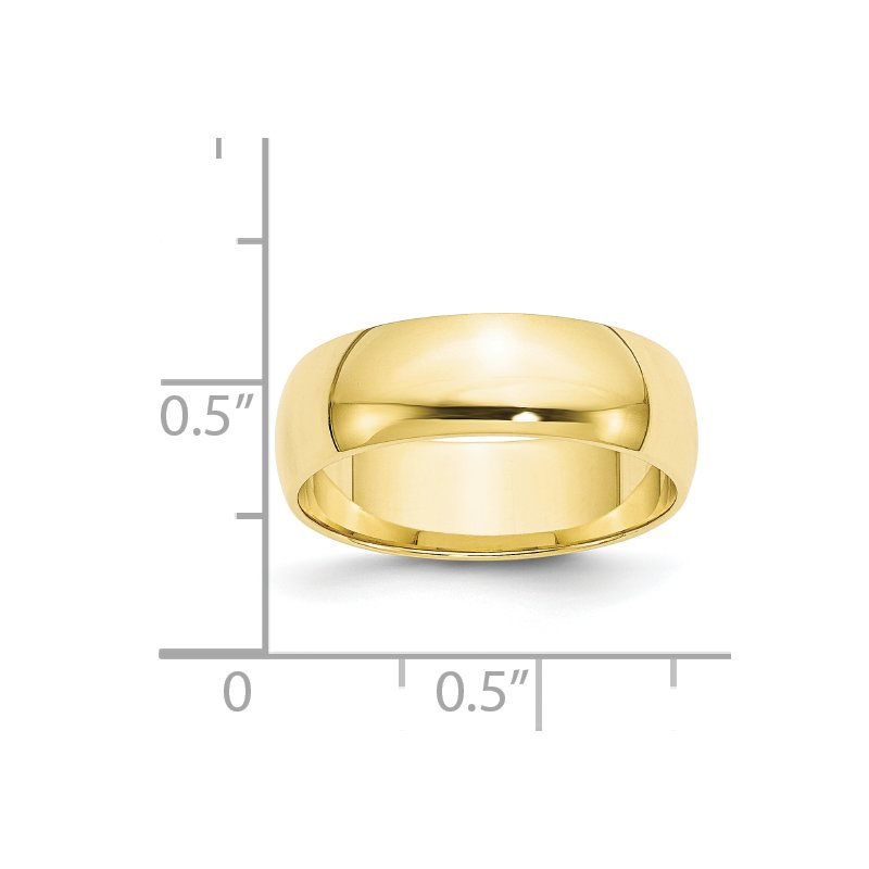 Quality Gold 10KY 6mm LTW Half Round Band Size 10