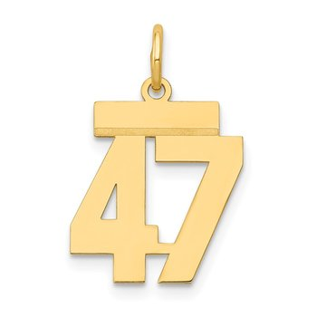 14k Small Polished Number 47 Charm