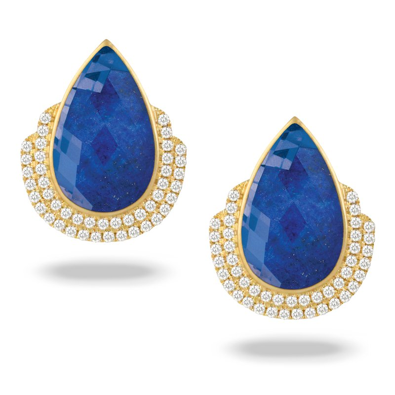 Doves Roayl Lapis Diamond Accent Earrings 18KY
