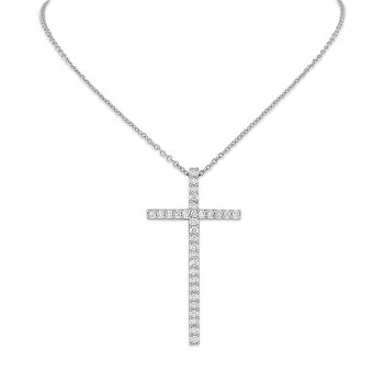 Diamond Cross Necklace in 14k White Gold with 31 Diamonds weighing .35ct tw.