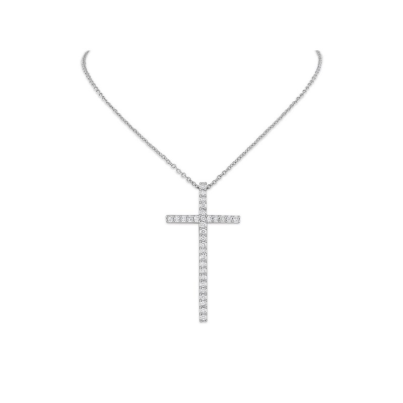 KC Designs Diamond Cross Necklace in 14k White Gold with 31 Diamonds weighing .35ct tw.