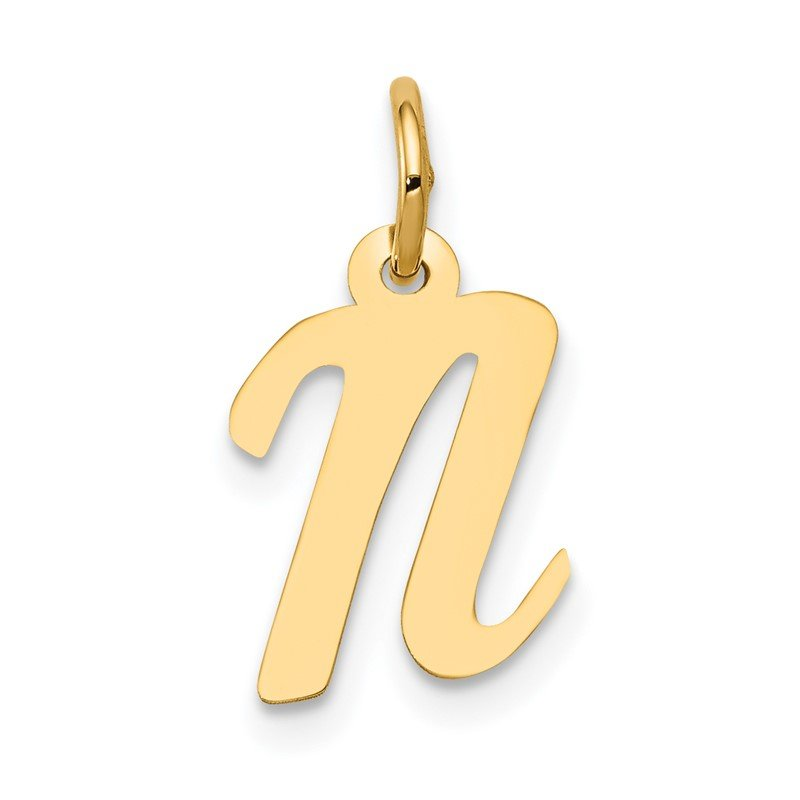 Quality Gold 14k Small Script Letter N Initial Charm