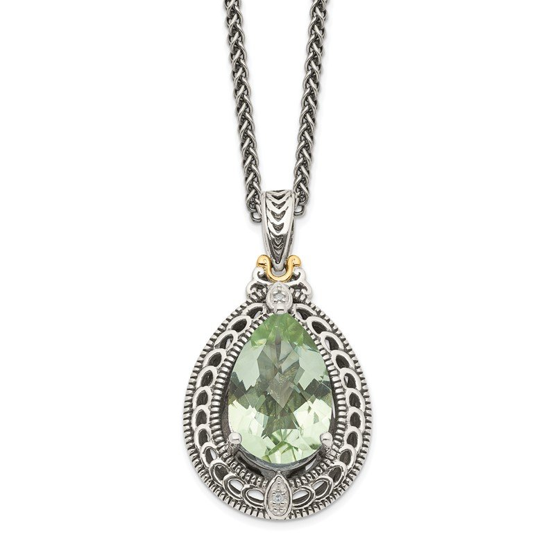 Quality Gold Sterling Silver w/14k Diamond & Green Quartz Necklace
