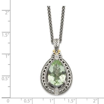 Sterling Silver w/14k Diamond & Green Quartz Necklace